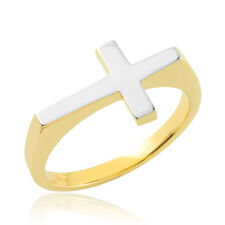 Solid Two-Tone Gold Polished Band Flat Top Sideways Cross Ring