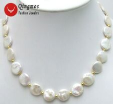 "SALE Big 13-14mm WHITE Natural COIN Round Freshwater PEARL 17"" NECKLACE-nec5228"
