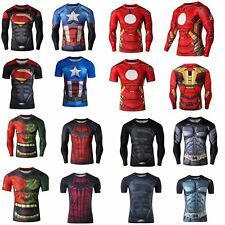 New Marvel Superhero Comics Costume T-Shirts Long Short Sleeve Tight Wear Jersey