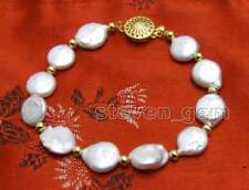 """SALE Big 11-12MM Natural White Coin Round freshwater Pearl 7.5"""" Bracelet -bra137"""