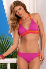 $122 BECCA Rebecca Virtue Sunrise Colorblock Banded Halter & Bottom Bikini Set