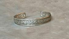 Vintage Sterling silver Art Deco engraved swirls bangle bracelet, 23.5gm