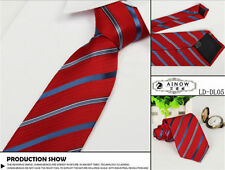 Skinny Striped Mens Tie Plain Silk Jacquard Woven Necktie Party Wedding US Stock