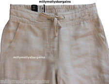 New Womens Marks and Spencer Beige Wide Leg Linen Trousers Size 8 Medium