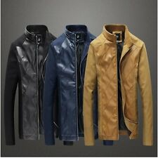 Mens Casual Slim-fit Bomber Spliced Cotton Synthetic Leather Jacket Blazer (644)