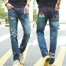 New Mens Boys Runway Straight Slim Skinny Elastic Denim Pants Jeans Trousers Q73