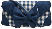 NEW IRREGULAR CHOICE *HEEL THE WORLD CLUTCH* BLUE BOW GINGHAM PRINT BAG