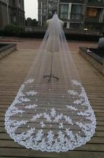 New Hot Sale 3M Wedding Veil With Appliques Lace Cathedral Bridal Veil with comb