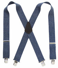 "Denim Terry Suspenders 2"" Wide Strong Clips Leather Patch Choose Your Size"