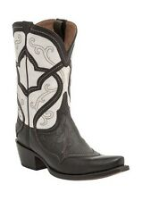 Lucchese M4916 Womens Whiskey Calf Leather Mosaic Stitch Western Cowboy Boots