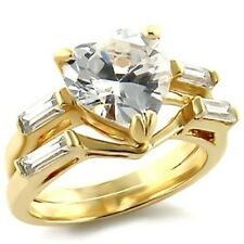 Yellow Gold Wedding Rings Set Cubic Zirconia Heart Ring Band Size 9 USASeller