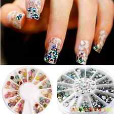 Mix Small Wheel Nail Art Tips Glitter Manicure Rhinestone 3D UV gel Nail Sticker