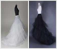 New Bridal's Train Petticoat 2 Hoop Wedding dress Hoopless Crinoline UnderSkirt