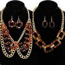 Necklace Resin Orange Brown Gold Chain Linked Earrings Set Formica Round Square