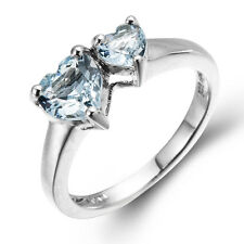 2016 New Double Heart Sky Blue Topaz Solid 925 Sterling Silver Ring Mother's day