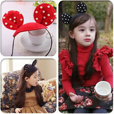 Kids Girls Pearl Ears Headband Hair Wear Clips Ribbon Headdress Accessories Cute