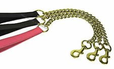 BLACK BROWN PINK DOG CHAIN LEAD EXTRA HEAVY IN BRASS REAL LEATHER HANDLE STRONG
