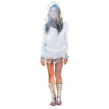 Women Summer Tassel Lace Patchwork Tunic Hollow Out Long Sleeves Beach Dress