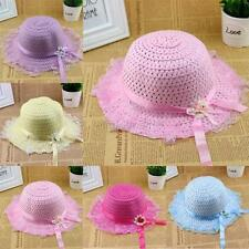 Kid Baby Girl Lace Wide Brim Summer Beach Flower Straw Sun Visor Hat Child Caps