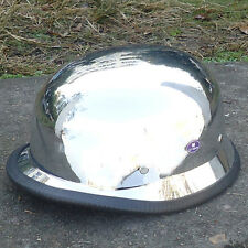 DOT Approved Motorcycle Cruiser Germany Style Chrome Silver Half Helmet S M L XL
