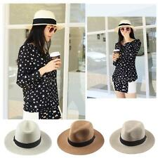Women Beach Panama Hat Cap Wide Brim Straw Foldable Sun Fedora  Cowboy Hat L6X7