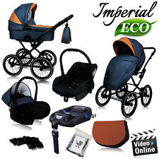 IMPERIAL ECO LEATHER + LINEN PRAM PUSHCHAIR BUGGY CAR SEAT TRAVEL SYSTEM ISOFIX