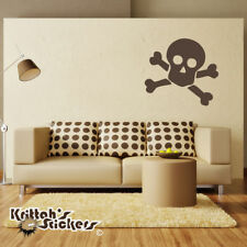 Jolly Roger Pirate Skull & Crossed Bones Vinyl Wall Decal - sticker mural K015-W