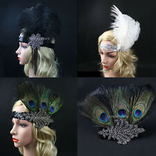 FLAPPER HEADBAND Feather Sequin Costume Gatsby Charleston Dance Headpiece 1920's