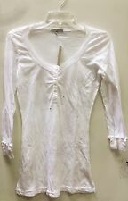 james perse wmj3233 womens l/s long shirt top new white with buttons 3/4 sleeves