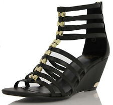 Delicious Kaylin Faux Leather Strappy Gladiator Cover Ankle Wedge