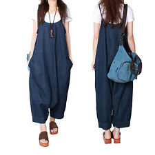 Women Fashion Loose Denim Suspender Pants Jumpsuit Harem Pants Overalls Trousers