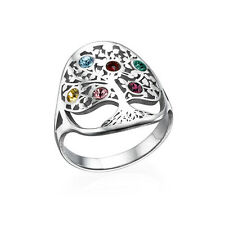 Family Tree Jewelry, 925 Sterling Silver Mother Ring , Birthstone Ring