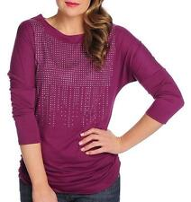 NEW Glitterscape® Knit Dolman Sleeve Ruched Side Seam Stud Detailed Top S M L