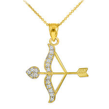 14k Gold Cupid Arrow Bow Love Heart Pendant with 0.26 ct. Diamonds