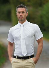 Shires Short Sleeve Tie Horse Riding Show Shirt - Gents WHITE **ALL SIZES**
