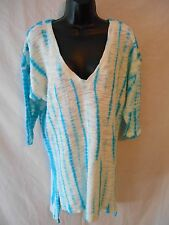 XCVI Cotton Blend ISLA High-Low Tie-Dye ¾ Slve Tunic Top SR$98 NEW