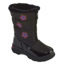 NWT Toddler Girls Totes Black Rain WINTER SNOW BOOTS Size 6 7 8 MIA Flowers