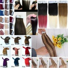 """16""""-26""""double drawn Tape In PU Skin Weft 100% Remy Human Hair Extensions 20pcs"""