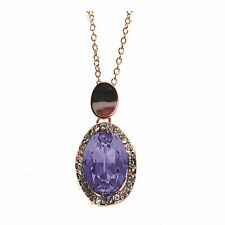Rose-Plated Tanzanite Oval Pave  Pendant Necklace  made with SWAROVSKI® Crystals