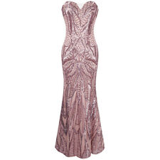 Angel-fashions Strapless Sequins Mermaid Wedding Long Evening Dress Pink 212