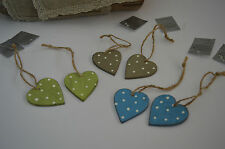 Gisela Graham Wood Shabby Chic Polka Dot Country Style Heart Dec (Set of 2)