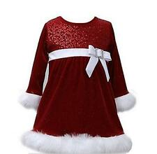 Girls BONNIE JEAN Santa Holiday CHRISTMAS Dress Size 2T 4T 4  NWT Red fur Sequin