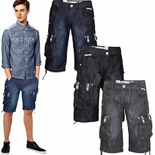 New Mens Crosshatch Branded Combat Casual Cargo Denim Jeans Shorts Pockets Pants