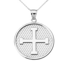 Sterling Silver Greek Cross Round Pendant Necklace