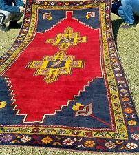 Authentic 4'6''x9'7'' 1900-1930s Antique Lambs Wool Pile Tribal Rug Turkey
