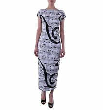 DOLCE & GABBANA RUNWAY Sequins Embroidery Music Printed Dress Black White 04408