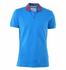 MOSCHINO COUTURE Polo Shirt with Logo Printed Collar Blue Red 04423