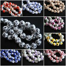 Flower Round Ceramic Clay Porcelain Spacer Glass Beads Jewelry Finding 10mm