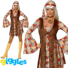 Ladies 1960's Groovy Baby Costume Flower Power Hippy Fancy Dress Outfit