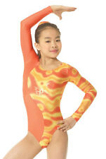 Mondor Gymnastics Dance Long Sleeve Orange Yellow Leotard CS 6X-7, 8-10, 10-12